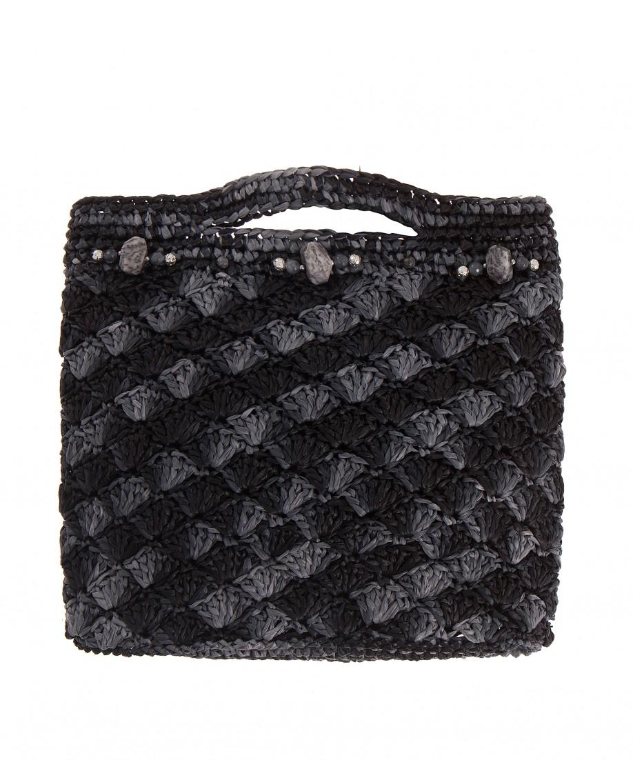 Black grey crochet hand bag - Black and grey house ...